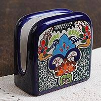 Ceramic napkin holder, 'Tezihutlan Flowers' - Hand-Painted Floral Ceramic Napkin Holder from Mexico