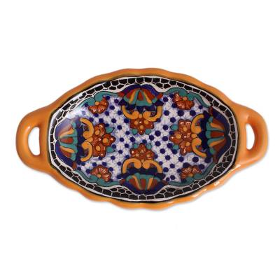 Ceramic serving dish, 'Zacatlan Flowers' - Talavera-Style Ceramic Serving Dish from Mexico