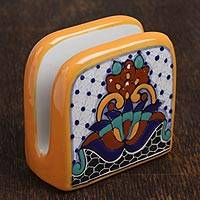 Ceramic napkin holder, 'Zacatlan Flowers' - Hand-Painted Ceramic Napkin Holder from Mexico