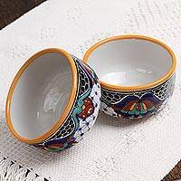 Ceramic bowls, 'Zacatlan Flowers' (pair) - Hand-Painted Ceramic Bowls from Mexico (Pair)