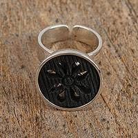 Sterling and ceramic cocktail ring, 'Barro Negro Petals' - Ceramic and Sterling Silver Floral Cocktail Ring from Mexico