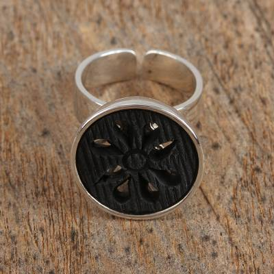 Sterling silver and ceramic cocktail ring, 'Barro Negro Petals' - Ceramic and Sterling Silver Floral Cocktail Ring from Mexico