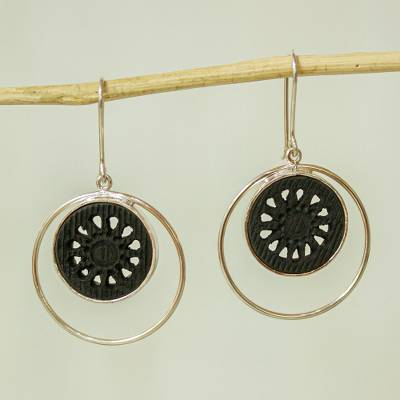 Sterling silver and ceramic drop earrings, Within the Eclipse