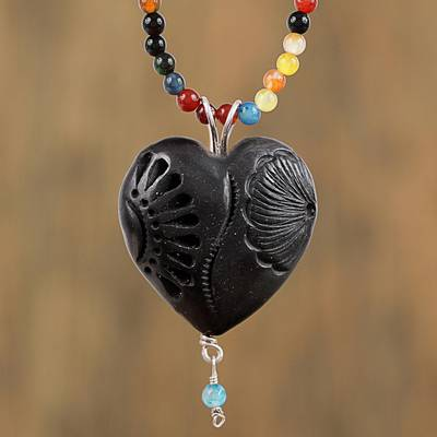 Chalcedony and ceramic beaded pendant necklace, 'Delicacies of My Country' - Chalcedony and Ceramic Beaded Pendant Necklace from Mexico