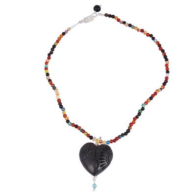 Chalcedony and Ceramic Beaded Pendant Necklace from Mexico