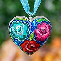 Wood pendant necklace, 'Flowers of My Heart' - Floral Heart-Shaped Wood Pendant Necklace from Mexico