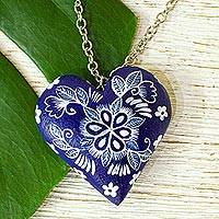 Wood pendant necklace, 'Celestial Heart' - Heart-Shaped Floral Wood Pendant Necklace from Mexico