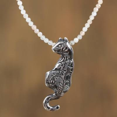 Chalcedony beaded pendant necklace, 'Nocturnal Moments' - Chalcedony Cat Beaded Pendant Necklace from Mexico