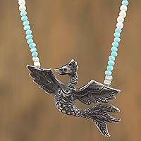 Cultured pearl and chalcedony beaded pendant necklace, 'Sweet Dance' - Chalcedony Bird Beaded Pendant Necklace from Mexico