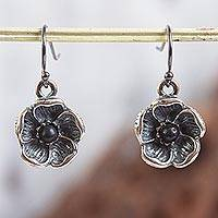 Sterling silver stud earrings, 'Barro Negro Narcissus' - Sterling Silver and Ceramic Floral Earrings from Mexico