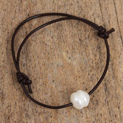 Cultured pearl pendant bracelet, 'Beautiful Glow' - Cultured Pearl Pendant Bracelet from Mexico