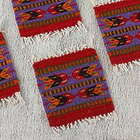 Wool coasters, 'Zapotec Chevron' (set of 6) - Striped Zapotec Wool Coasters from Mexico (Set of 6)