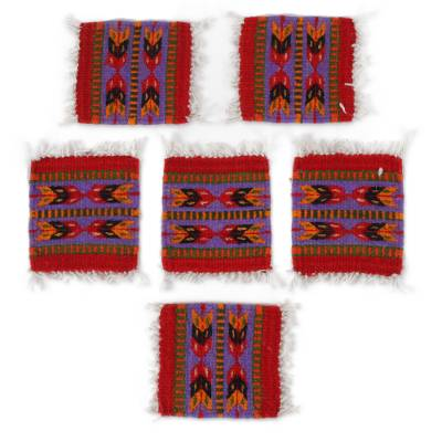 Striped Zapotec Wool Coasters from Mexico (Set of 6)