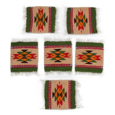 Geometric Zapotec Wool Coasters from Mexico (Set of 6)