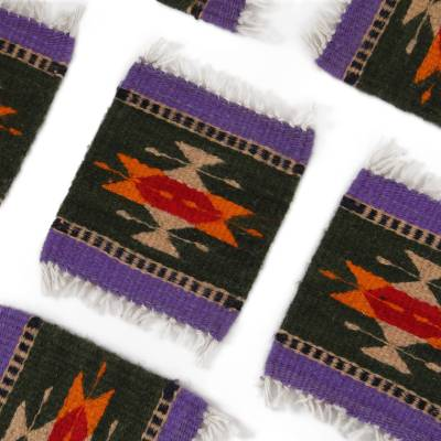 Wool coasters, 'Zapotec Fascination' (set of 6) - Colorful Zapotec Wool Coasters from Mexico (Set of 6)