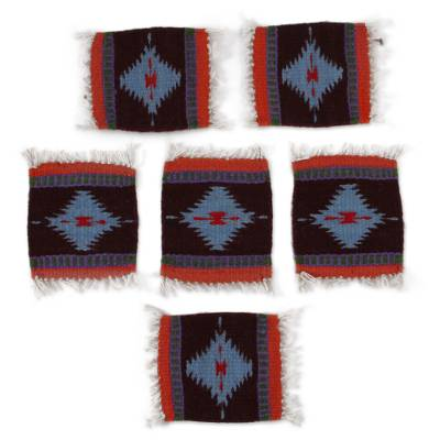 Diamond Motif Zapotec Wool Coasters from Mexico (Set of 6)