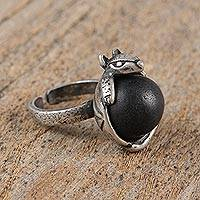 Sterling silver cocktail ring, 'Armadillo Belly' - Sterling Silver and Ceramic Armadillo Cocktail Ring