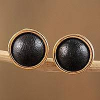 Gold accented ceramic stud earrings, 'Barro Negro Domes' - 14k Gold Plated Ceramic Stud Earrings from Mexico