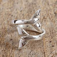 Sterling silver wrap ring, 'Taxco Tails' - Taxco Sterling Silver Whale Fin Wrap Ring from Mexico