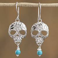 Turquoise and cultured pearl dangle earrings, 'Transmutation' - Taxco Skull Turquoise and Pearl Dangle Earrings from Mexico