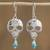 Turquoise and cultured pearl dangle earrings, 'Transmutation' - Taxco Skull Turquoise and Pearl Dangle Earrings from Mexico thumbail