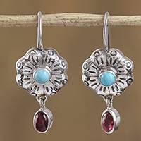 Turquoise and garnet dangle earrings, 'Colorful Blooms' - Floral Turquoise and Garnet Dangle Earrings from Mexico