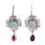 Turquoise and garnet dangle earrings, 'Colorful Blooms' - Floral Turquoise and Garnet Dangle Earrings from Mexico (image 2a) thumbail