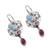 Turquoise and garnet dangle earrings, 'Colorful Blooms' - Floral Turquoise and Garnet Dangle Earrings from Mexico (image 2c) thumbail