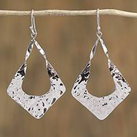 Sterling silver dangle earrings, 'Modern Kites' - Kite-Shaped Taxco Sterling Silver Dangle Earrings