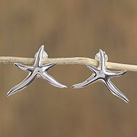 Sterling silver button earrings, 'Stars of the Canaries' - Taxco Sterling Silver Starfish Button Earrings from Mexico