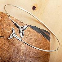 Sterling silver cuff bracelet, 'Taxco Tails' - Taxco Sterling Silver Whale Fin Cuff Bracelet from Mexico