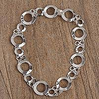Sterling silver link necklace, 'Modern Ripples' - Circular Taxco Sterling Silver Link Necklace from Mexico