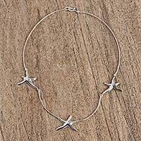 Sterling silver choker necklace, 'Stars of the Canaries' - Sterling Silver Starfish Choker Necklace from Mexico