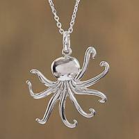 Sterling silver pendant necklace, 'Beneath the Waves' - Sterling Silver Octopus Pendant Necklace from Mexico