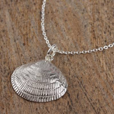 Sterling silver pendant necklace, 'Mediterranean Shell' - Sterling Silver Seashell Pendant Necklace from Mexico