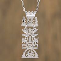 Sterling silver pendant necklace, 'Pre-Hispanic Tree of Life (Mexico)