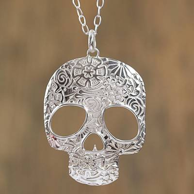 Sterling silver pendant necklace, 'Complex Skull' - Taxco Sterling Silver Skull Pendant Necklace from Mexico