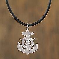 Sterling silver pendant necklace, 'Boundless Seas' - Nautical Taxco Sterling Silver Pendant Necklace from Mexico