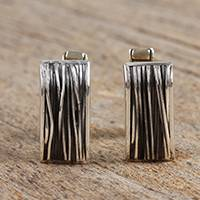 Sterling silver cufflinks, 'Modern Thicket' - Modern Taxco Sterling Silver Cufflinks from Mexico