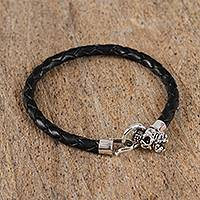 Leather and sterling silver braided bracelet, 'Path to Preservation' - Leather and Sterling Silver Braided Bracelet from Mexico