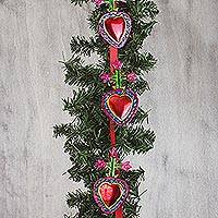 Tin ornament garland, 'Magnificent Hearts' - Tin Heart Ornament Garland from Mexico (Set of 10)