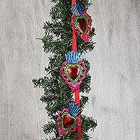 Tin ornament garland, 'Wreathed Hearts' - Red Heart Tin Ornament Garland from Mexico (Set of 10)