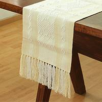 Cotton table runner, 'Butter Stripes' - Cotton Table Runner in Butter and White from Mexico