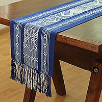 Cotton table runner, 'White Fauna' - Cotton Table Runner in Sapphire and White from Mexico