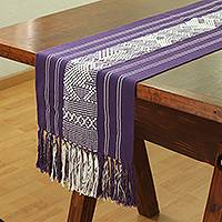 Cotton table runner, 'Mystical Fauna' - Cotton Table Runner in Purple and White from Mexico