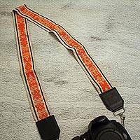 Leather accent cotton lanyard, 'Tangerine Dream' - Leather Accent Cotton Lanyard in Tangerine and Vanilla
