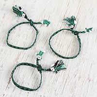 Cotton wristband bracelets, 'Mossy Dolls' (set of 3) - Cotton Bracelets in Moss Green and Black (Set of 3)