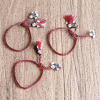 Cotton wristband bracelets, 'Elegant Dolls' (set of 3) - Cotton Wristband Bracelets in Tomato and Grey (Set of 3)