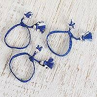 Cotton wristband bracelets, 'Azure Dolls' (set of 3) - Cotton Wristband Bracelets in Azure (Set of 3)