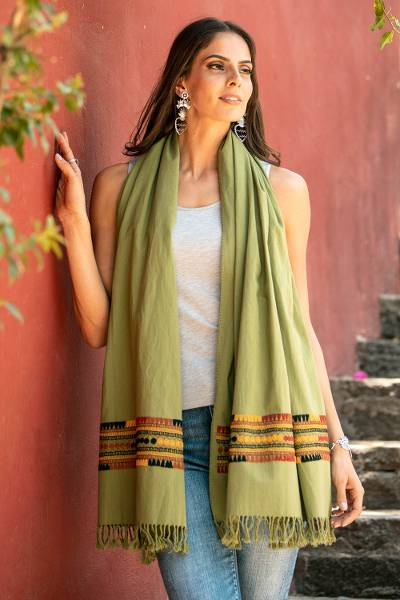 Cotton shawl, 'Rebozo Style in Avocado' - Handwoven Cotton Shawl in Avocado from Mexico